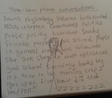 Text: Three hour phone conversations. Image: Figure speaking on the phone with words filling the space behind it