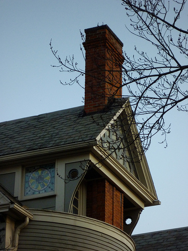 A decorative chimney of an Oberlin house