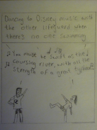 "text: ""Dancing to Disney music with the other lifeguard when there's no one swimming."" Image: two figures dancing and singing"