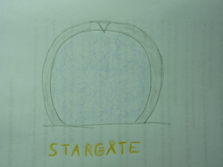 "Text: ""stargate"" Image: blue orb"