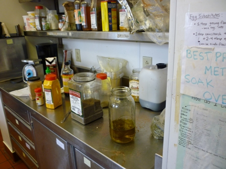 Kitchen counter filled with spices
