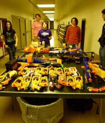 Nerf guns on a ping pong table