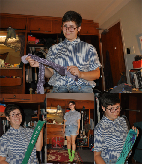 Multiple pictures of a student holding various long socks