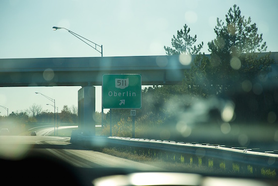 A highway exit sign for Oberlin