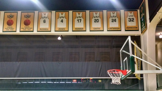 Framed jerseys above a basketball hoop