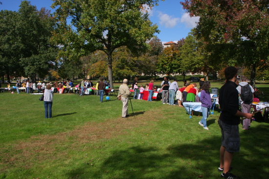 People gather in the park at Tappan Square