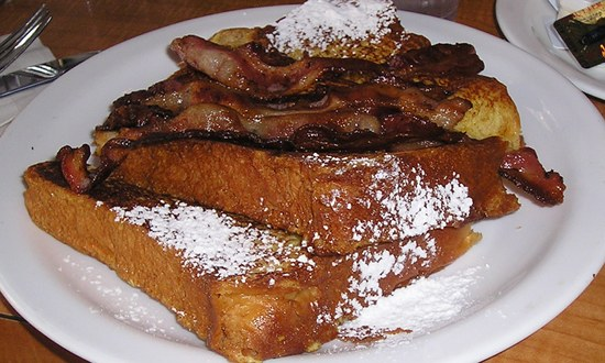 French toast topped with bacon
