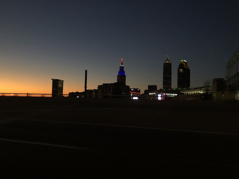Sunset in the background of Cleveland's skyline