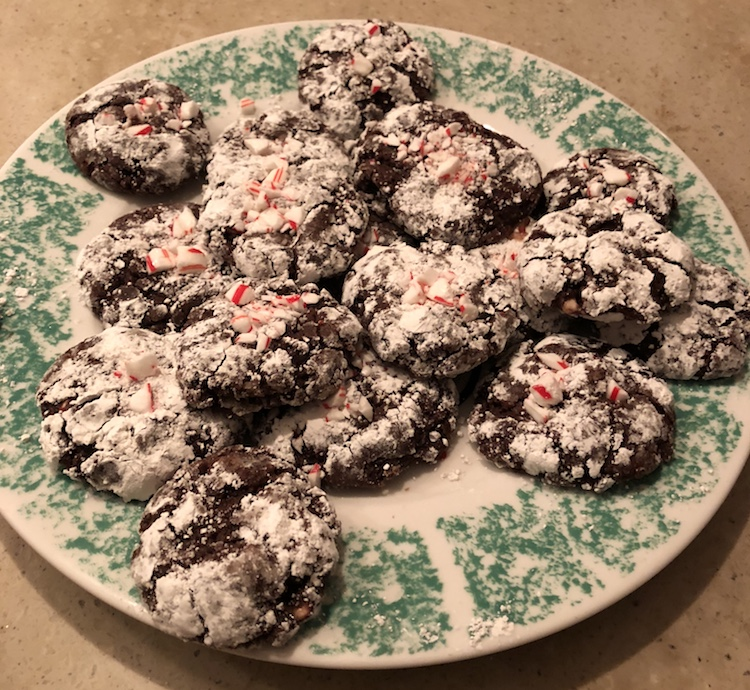 A plate of chocolate peppermint cookies