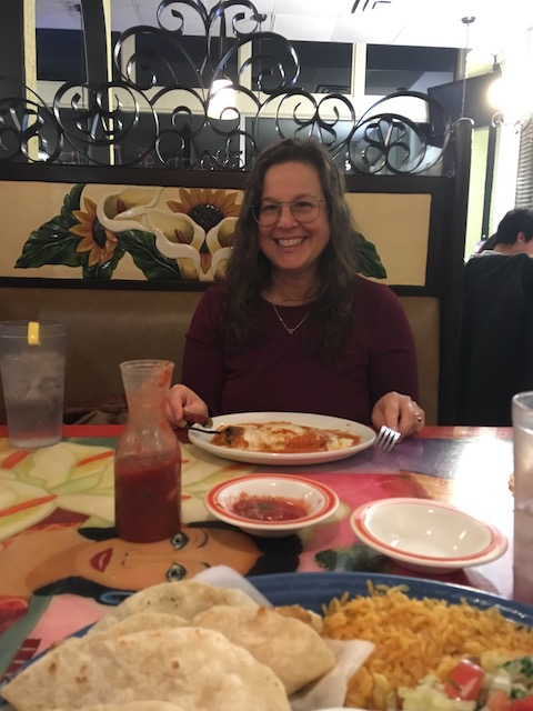 My mom across the table from me at Lupita's, a Mexican restaurant