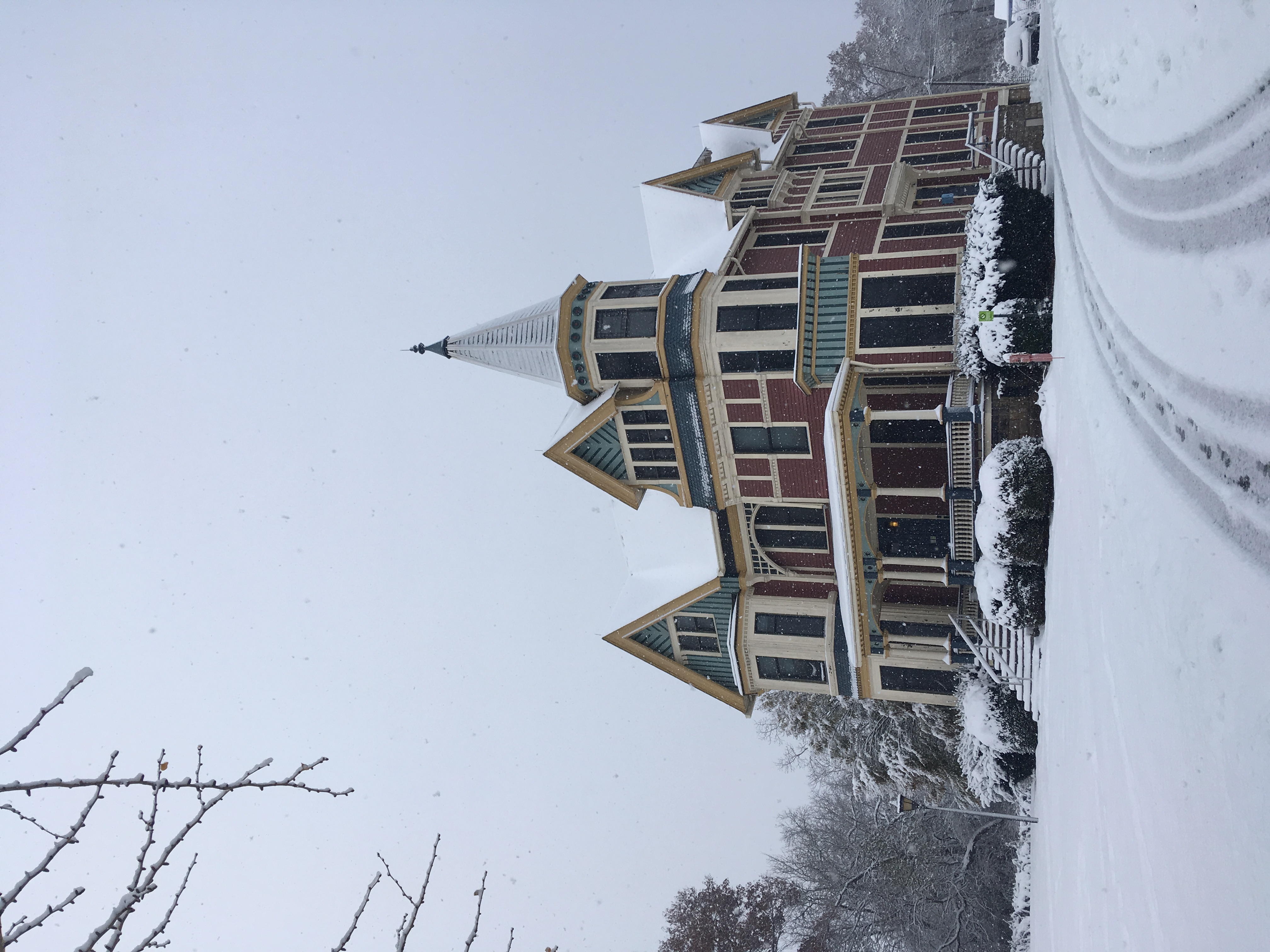 J-House in winter: a very colorful Victorian mansion!