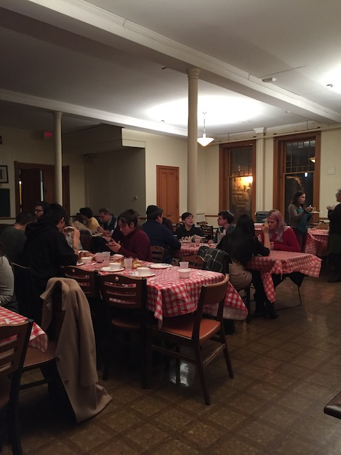 Hillel Jewish student group's Friday Night Shabbat meal in the Kosher-Halal Co-op