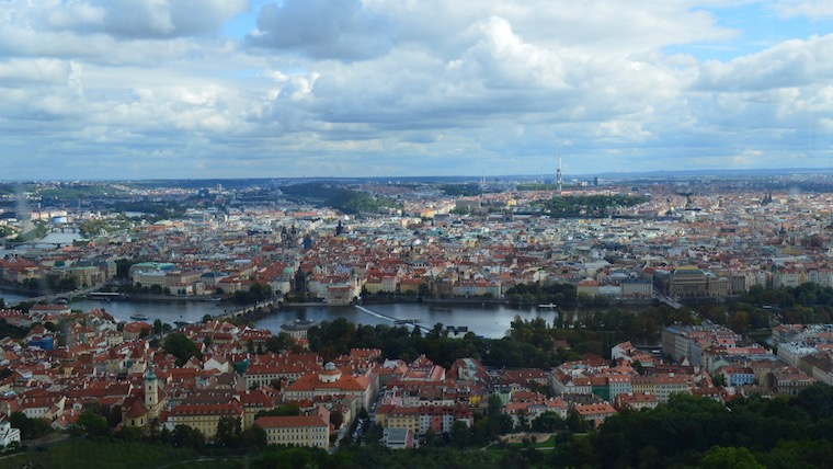 A wide view of Prague, Czech Republic from the top of a hill