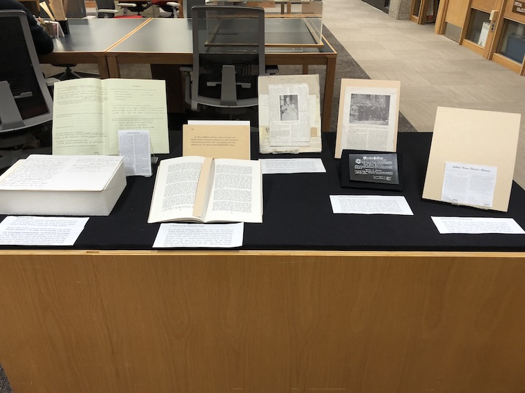 A photo of my group's display case in the Oberlin College Archives
