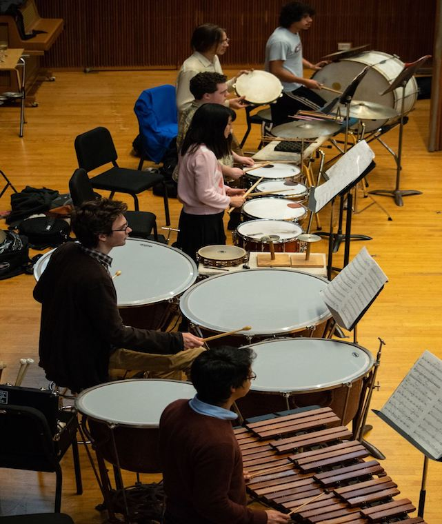 A photo of percussionists playing instruments.