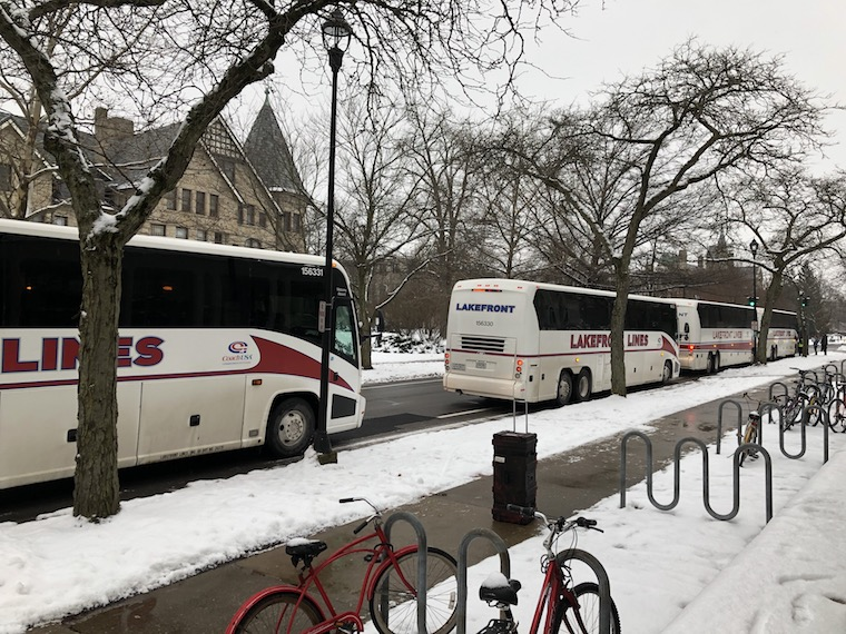 Buses outside of the Conservatory