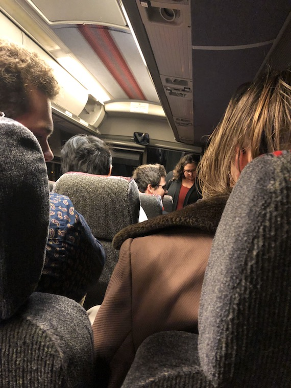 People sitting on the bus.