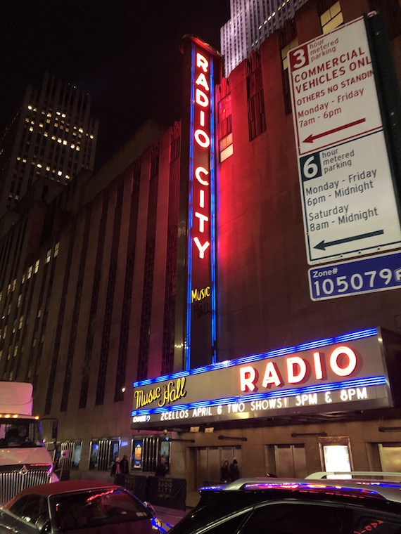 Radio City Music Hall, all lit up from the outside!