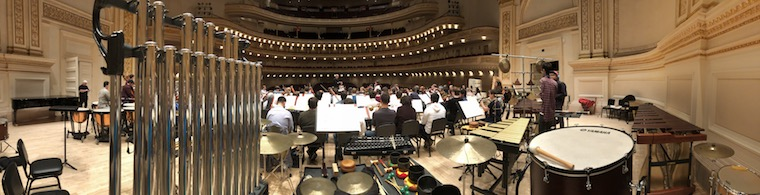 Orchestra rehearsal at Carnegie Hall.
