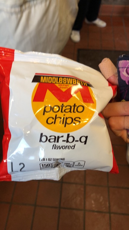 A bag of Middleswarth BBQ chips.
