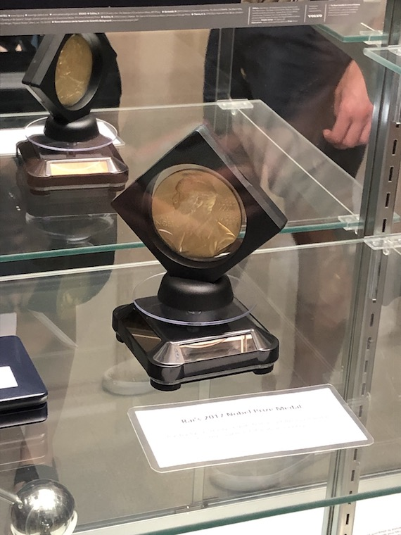 A picture of the Nobel Prize that LIGO won.