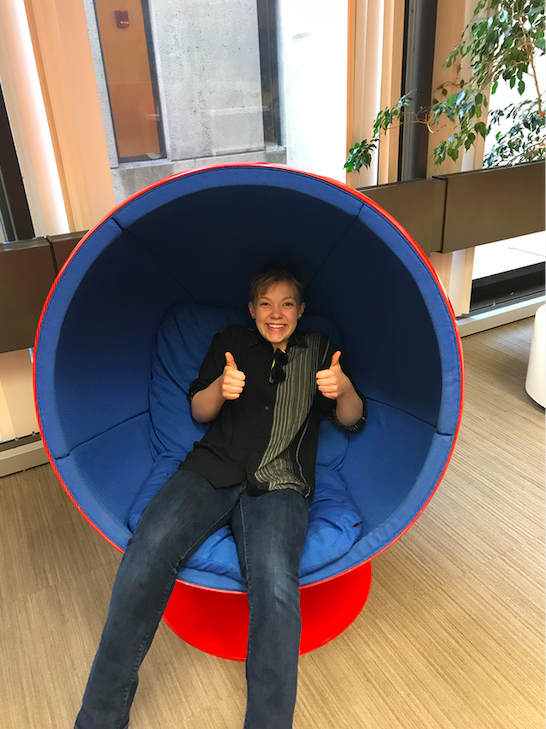 Rosa in a womb chair