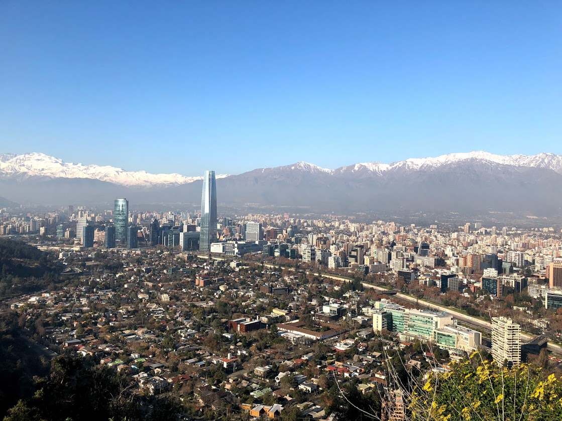 View of the city of Santiago, Chile and the Andes mountains from above