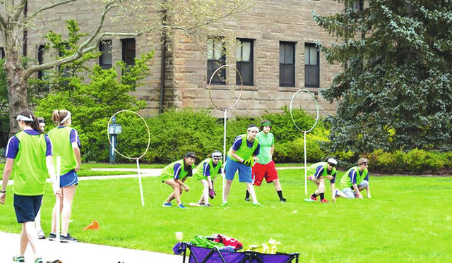 Oberlin students playing Quidditch on campus