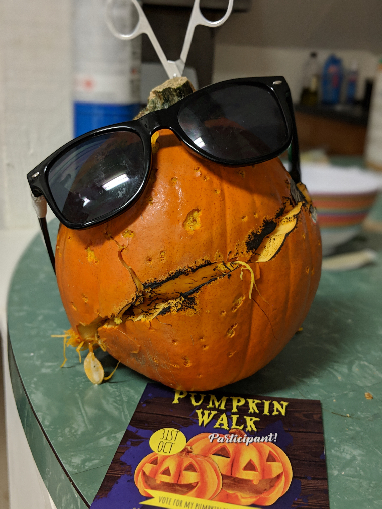 A really, really bad pumpkin carving. Like, we didn't even try