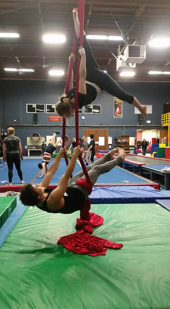 Freshman Teague in the aerial silks