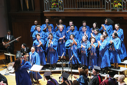 Gospel Choir singing on stage. photo.