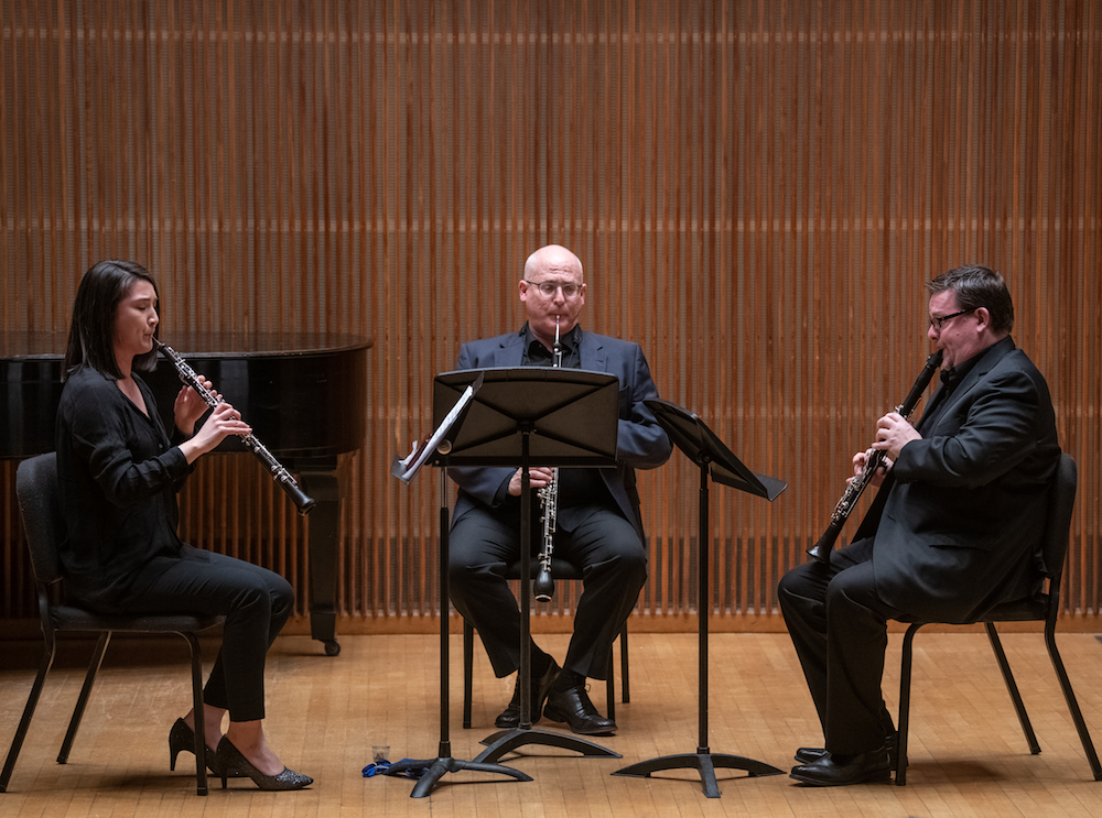 oboist Cassie Pilgrim with Robert Walters and Richard Hawkins