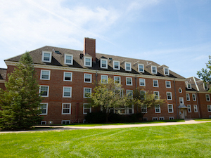 exerior view of brick residence hall called Burton.