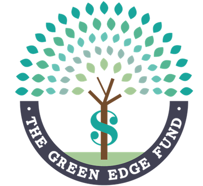 Logo of tree drawing with words green edge fund