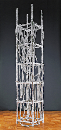 Contemporary art sculpture tower of  white wire cubes