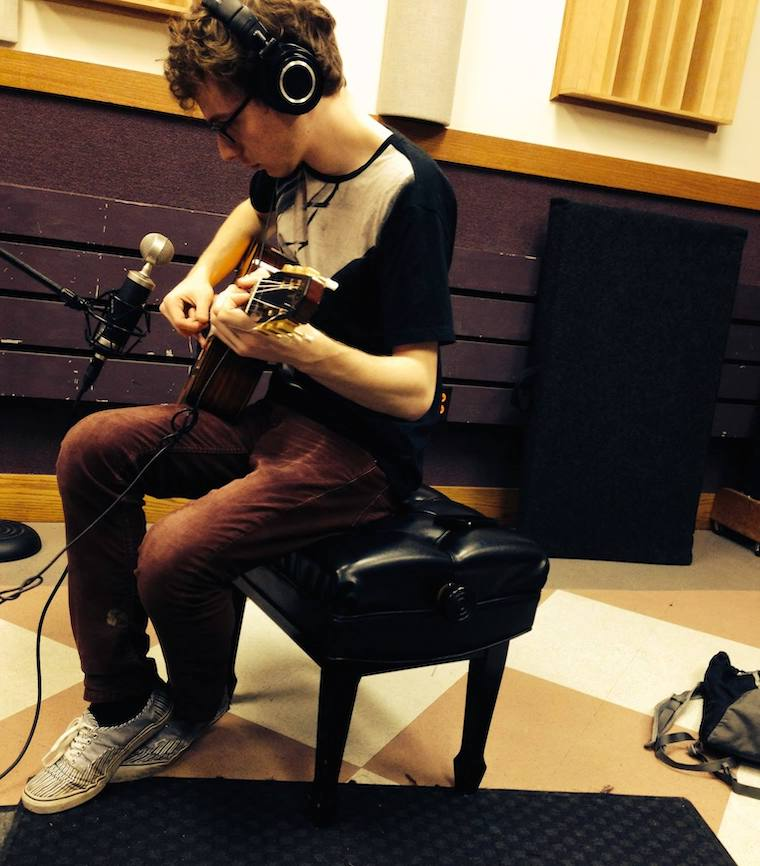 Griffin Jennings recording in a TIMARA studio in the Conservatory of Music