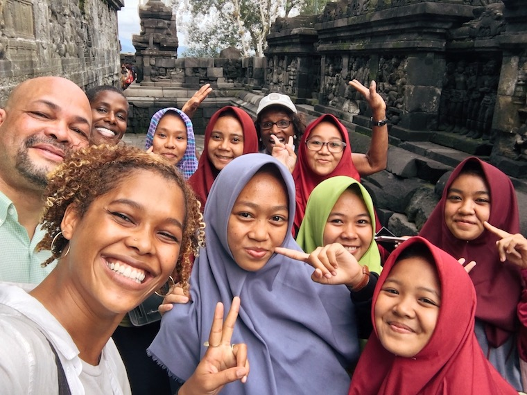 "Hyacinth Parker smiles in a group ""selfie"" with peers in Hong Kong"