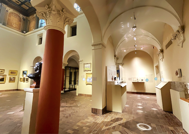 A view inside a museums sculpture and artifact galleries.