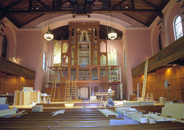 The installation of a large organ.
