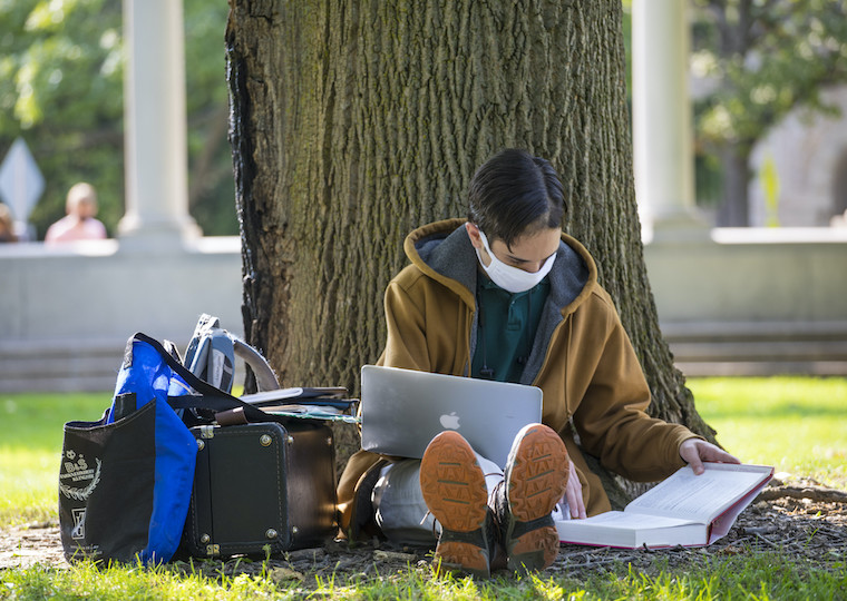 A student studying while sitting next to a tree trunk