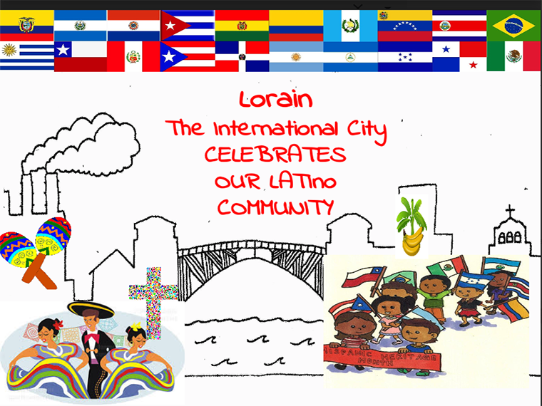 A presentation slide with images representing Latino community.