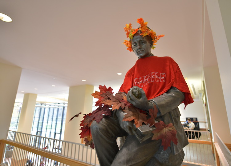 A statue of a man wearing an autumn wreath and t-shirt.