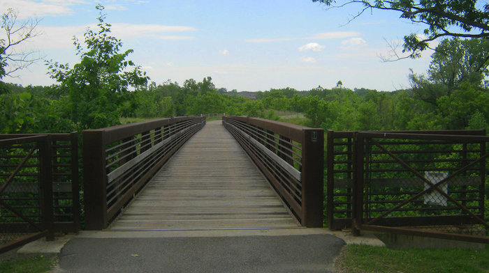 A bridgeway trail surrounded by many trees.