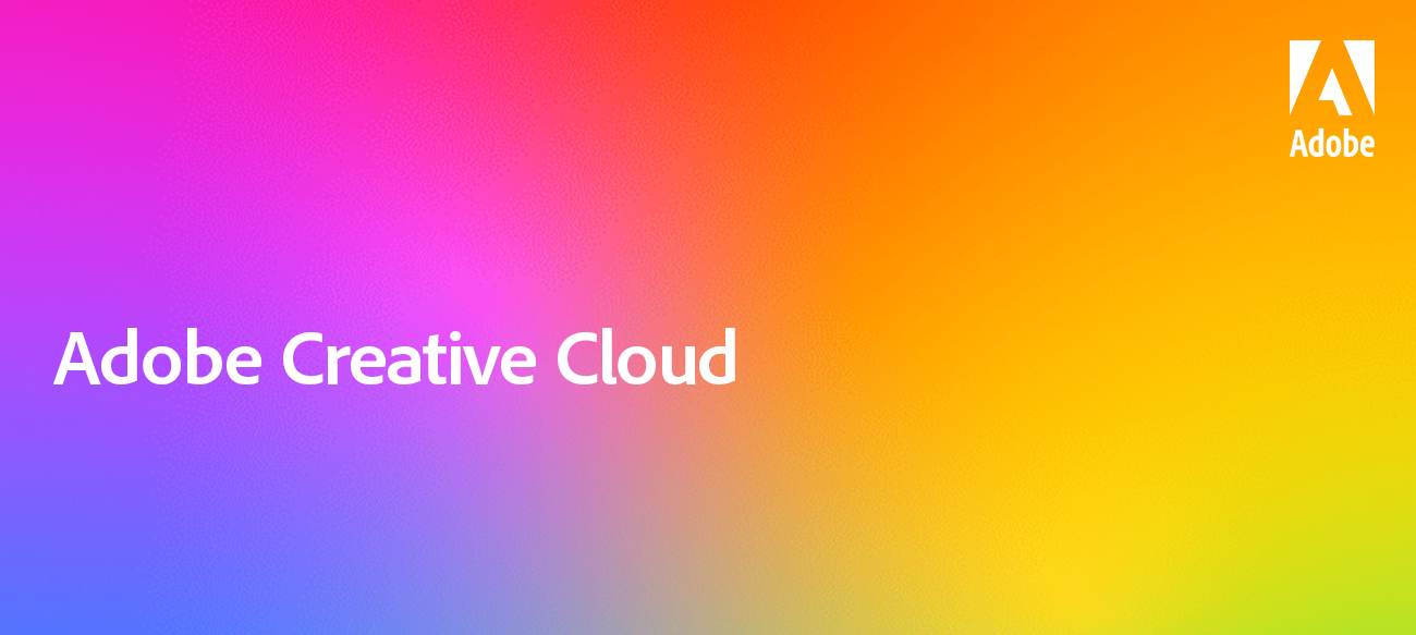 """Adobe Creative Cloud"" in white text over a rainbow gradient background"