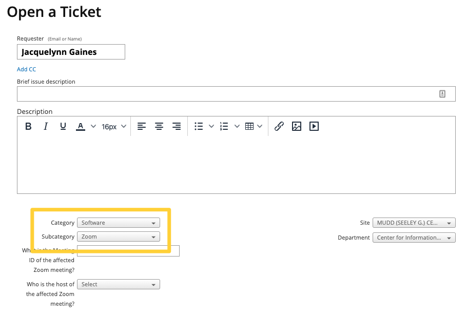 Image shows a screenshot of the ticket creation page on support.oberlin.edu. A yellow box highlights the two fields below the Description box, indicating where a category and subcategory can be selected.
