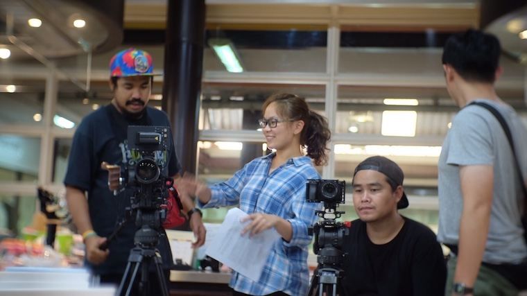 "Thanisa working on the set of Young เก๋า (""Young Classic"")."