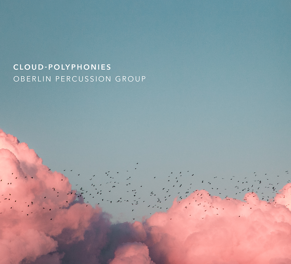 album cover featuring birds and colorful clouds.