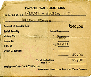 Pay stub from 1947 showing net pay of $92.80 after deductions