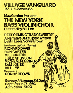 Poster advertising a performance at the Village Vanguard