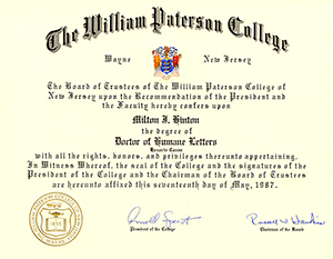 Doctor of Humane Letters degree certificate